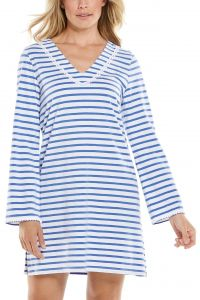 Coolibar---UV-werende-strandjurk-voor-dames---Samoa-Cover-Up---Blauw/Wit