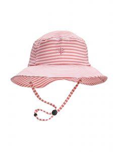 Coolibar---UV-werende-Bucket-Hoed-voor-kinderen---Caspian---Zeeschelp-roze/Wit