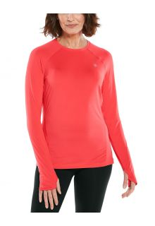 Coolibar---UV-sportkleding-voor-dames---Longsleeve-fitnesstop---Devi---Roze