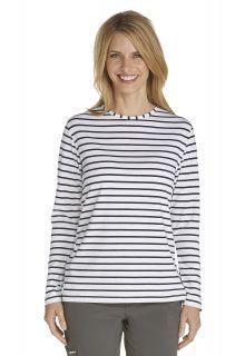 Coolibar---UV-longsleeve-shirt-dames---donkerblauw-/-wit-gestreept