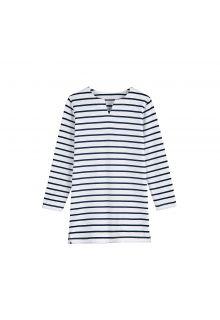 Coolibar---UV-tuniek-voor-meisjes---Wit-/-Navy-blauwe-strepen