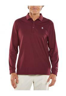 Coolibar---UV-Sport-Polo-voor-heren---Longsleeve---Erodym-Golf---Kastanjebruin