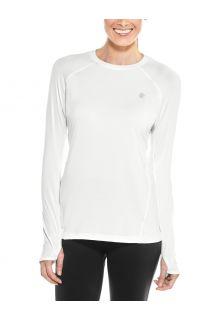Coolibar---UV-sportkleding-voor-dames---Longsleeve-fitnesstop---Devi---Wit