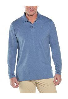 Coolibar---UV-Poloshirt-voor-heren---Longsleeve---Coppitt---Pacifisch-blauw