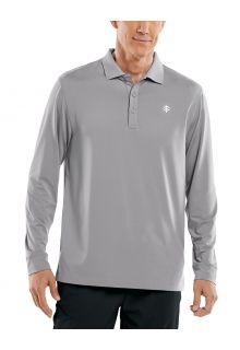 Coolibar---UV-Sport-Polo-voor-heren---Longsleeve---Erodym-Golf---Grijs