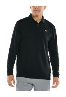 Coolibar---UV-Sport-Polo-voor-heren---Longsleeve---Erodym-Golf---Zwart