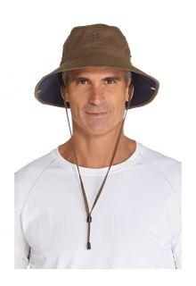 Coolibar---Lichtgewicht-UV-Bucket-Hoed-voor-heren---Chase---Khaki/Navy