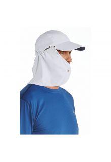 Coolibar---UV-zonnepet-voor-heren-met-nekflap---Wit-/-navy-blauw