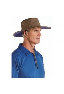Coolibar---UV-zonnehoed-voor-heren---Khaki-/-Navy-blauw