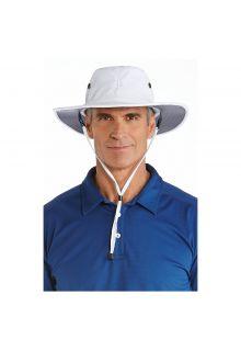 Coolibar---Modelleerbare-UV-Hoed-met-brede-rand-voor-heren---Leo---Wit/Carbon