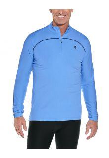 Coolibar---UV-Zwemshirt-voor-heren---Longsleeve---Nocona-Zip---Surf-Blauw