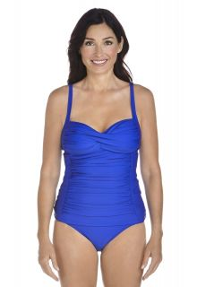 Coolibar---Dames-Bandeau-Tankini-top---Blauw