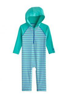Coolibar---UV-Zwempak-met-capuchon-voor-baby's---Finn---Zeemunt/Marlijnblauw