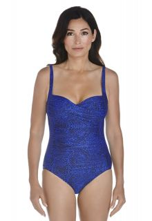 Coolibar---Dames-Ruche-bandeau-UV-badpak---Blauw-bloemenprint