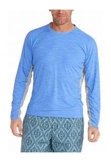 Coolibar---UV-Zwemshirt-voor-heren---Longsleeve---Ultimate-Rash---Surf-Blauw