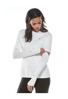 Coolibar---UV-werende-Sport-mouwen-voor-dames---Backspin-Performance---Wit