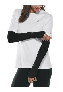 Coolibar---UV-werende-Sport-mouwen-voor-dames---Backspin-Performance---Zwart