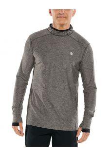 Coolibar---UV-Sportshirt-met-capuchon-voor-heren---Longsleeve---Agility---Houtskool