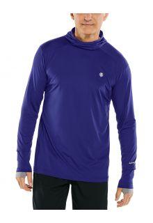 Coolibar---UV-Sportshirt-met-capuchon-voor-heren---Longsleeve---Agility---Donkerblauw