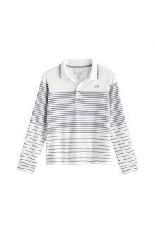 Coolibar---UV-Sport-Polo-voor-kinderen---Longsleeve---Erodym-Golf---Wit/Grijs