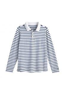 Coolibar---UV-Poloshirt-voor-kinderen---Longsleeve---Coppitt---Wit/Navy