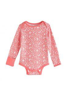 Coolibar---UV-werende-romper-voor-baby's---LumaLeo-Bodysuit---Perzik-Bloemen