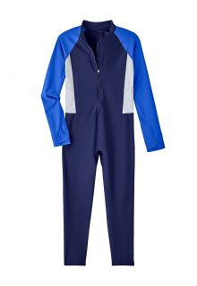 Coolibar---UV-werend-Zwempak-voor-kinderen---Sunray-360-Cover---Navy