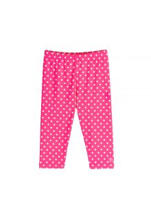 Coolibar---UV-zwemcapri-voor-meisjes---roze-met-witte-polka-stippen