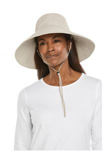 Coolibar---Breedgerande-UV-strandmuts-voor-dames---Cyd---Zand