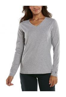 Coolibar---UV-Shirt-voor-dames---V-Hals-Longsleeve---Morada---Grijs