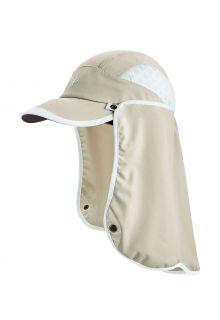 Coolibar---UV-Sportcap-met-nekbescherming-voor-volwassenen---Agility---Steen/Wit