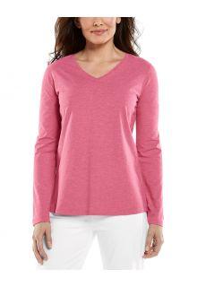 Coolibar---UV-Shirt-voor-dames---V-Hals-Longsleeve---Morada---Dahlia-Roze