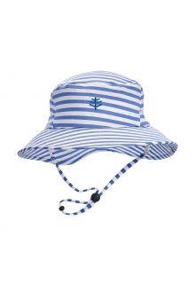 Coolibar---UV-werende-Bucket-Hoed-voor-kinderen---Caspian---Kustblauw/Wit