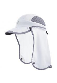 Coolibar---UV-Sportcap-met-nekbescherming-voor-kinderen---Agility---Wit/Staalgrijs