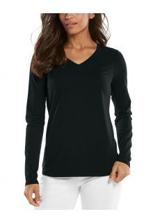 Coolibar---UV-Shirt-voor-dames---V-Hals-Longsleeve---Morada---Zwart