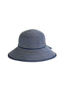 Coolibar---Breedgerande-UV-Hoed-voor-meisjes---Tea-Party-Ribbon---Navy/Wit
