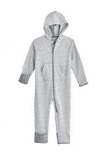 Coolibar---UV-werende-Romper-met-capuchon-voor-baby's---LumaLeo-Bodysuit---Grijs/Wit
