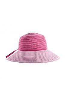 Coolibar---Breedgerande-UV-Hoed-voor-meisjes---Tea-Party-Ribbon---Roze/Wit