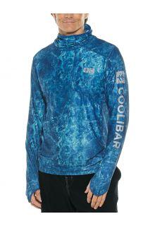 Coolibar---UV-Zwemshirt-met-capuchon-voor-heren---Andros---Blauw/Waterprint