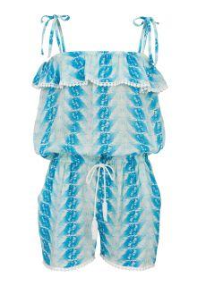 Snapper-Rock---Jumpsuit-voor-meisjes---Blauwe-Fushia-veren