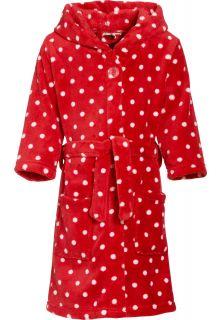 Playshoes---Fleece-badjas-met-capuchon---Stippen-rood
