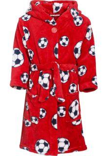 Playshoes---Fleece-badjas-met-capuchon---Voetbal-rood