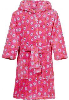 Playshoes---Fleece-badjas-met-capuchon---Bloemen-roze