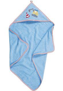 Playshoes---Badhanddoek-met-capuchon-voor-baby's---Bouwplaats---Lichtblauw