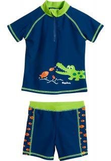 Playshoes---UV-zwemset-2-delig-voor-jongens---Krokodil---Blauw