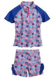 Playshoes---UV-tweedelige-set-zwemkleding---Bloemen-blauw-ruches