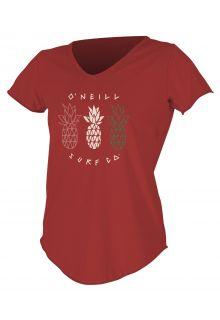 O'Neill---UV-shirt-voor-dames-met-korte-mouwen---Graphic-Sun---Donkerrood