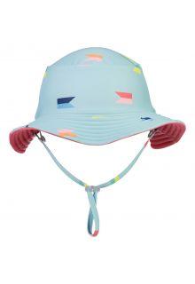 Snapper-Rock---Omkeerbare-UV-Bucket-Hoed-voor-jongens---Maritieme-Fliers---Lichtblauw/Koraal