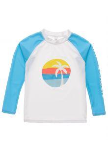 Snapper-Rock---UV-Rash-Top-voor-jongens---Longsleeve---Sunset-Stripe---Wit/Lichtblauw-