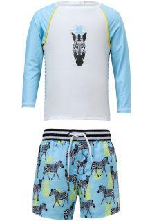 Snapper-Rock---UV-zwemset-met-boardshort---Zebra---Blauw/Wit